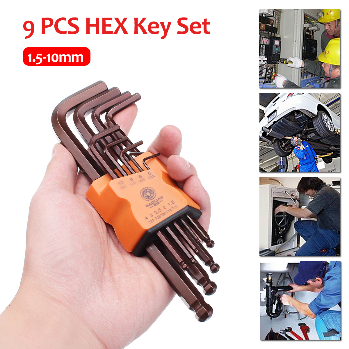 9pcs 1.5/2/2.5/3/4/5/6/8/10mm Hex Key Set Wrench Ball Point Hexagon Wrench Screwdriver Repair Tools Kit