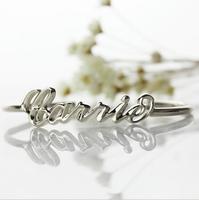 Частный настраиваемый простой браслет S925 серебро браслет с надписью женщины браслет подарок на день Валентина