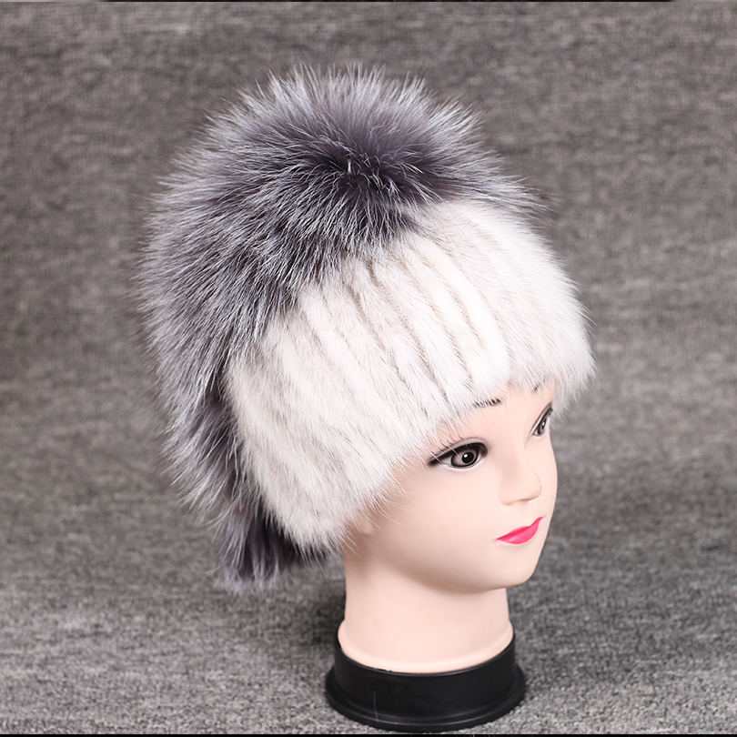 Real Mink Hat and Fox Fur Fluffy Natural Real Fur Cap New Fashion Fur Knitted Cap Genuine Mink Fur Hat Women Warm Female mz045