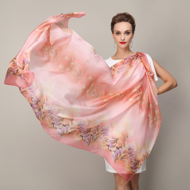 Mulberry Silk Long Silk Scarves Printed Female Peony Super Large Silk Muffler Shawl Broadened 2014 Plus Size Pink Scarf Cape