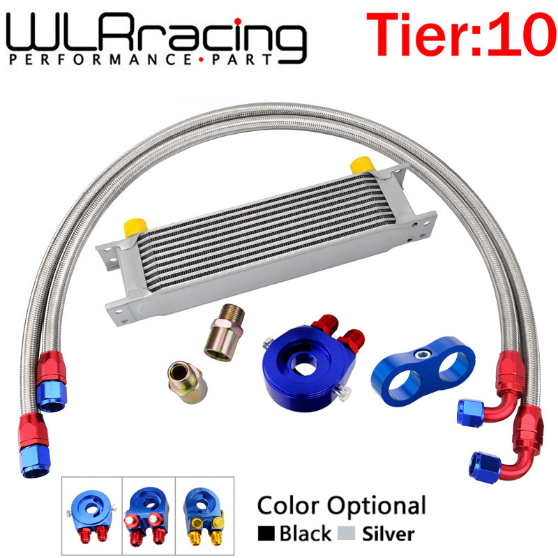 AN10 UNIVERSAL 10ROWS OIL COOLER KIT + OIL FILTER SANDWICH ADAPTER + NYLON STAINLESS STEEL BRAIDED AN10 HOSE + Line Sseparator title=