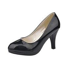 Классический офис Sexy круглый Toe платформы На низком Каблуке Женщины свадебное Насосы Обувь Черный