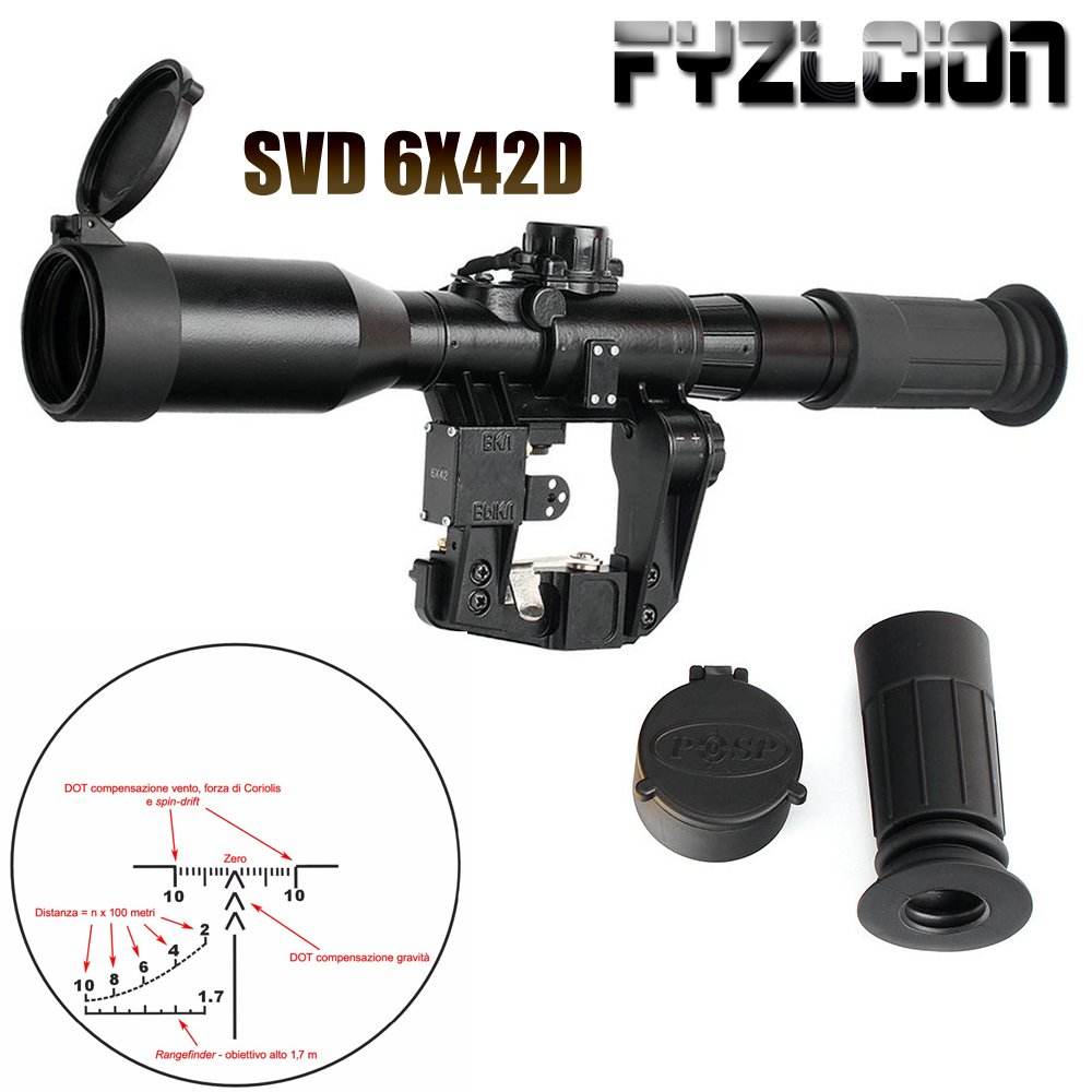 Hunting SVD 6X42D Riflescope Red Illuminated Glass Etched Reticle POS 1 Sight Tactical Scopees Mount Fits SKS Tigr Romak 3-in Riflescopes from Sports & Entertainment