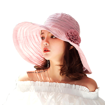 Striped Wide Brim Beach Hats Ladies Floppy Summer Hat Flower Fashion Sun Cap  For Women Summer Caps For Girls da684e23a18