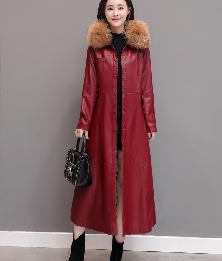 Cuir 2018 D'hiver Automne Mode En 1956 Plus Et Manteau Noir rouge Femmes Pu Tranchée Velours Longue Fourrure Col De Le dXEXwrq