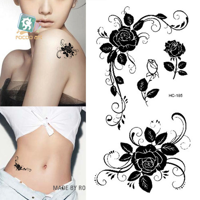 Body Art Sex Products Waterproof Temporary Tattoos For Men Women Sexy Black Rose Design Flash Tattoo Sticker HC1185