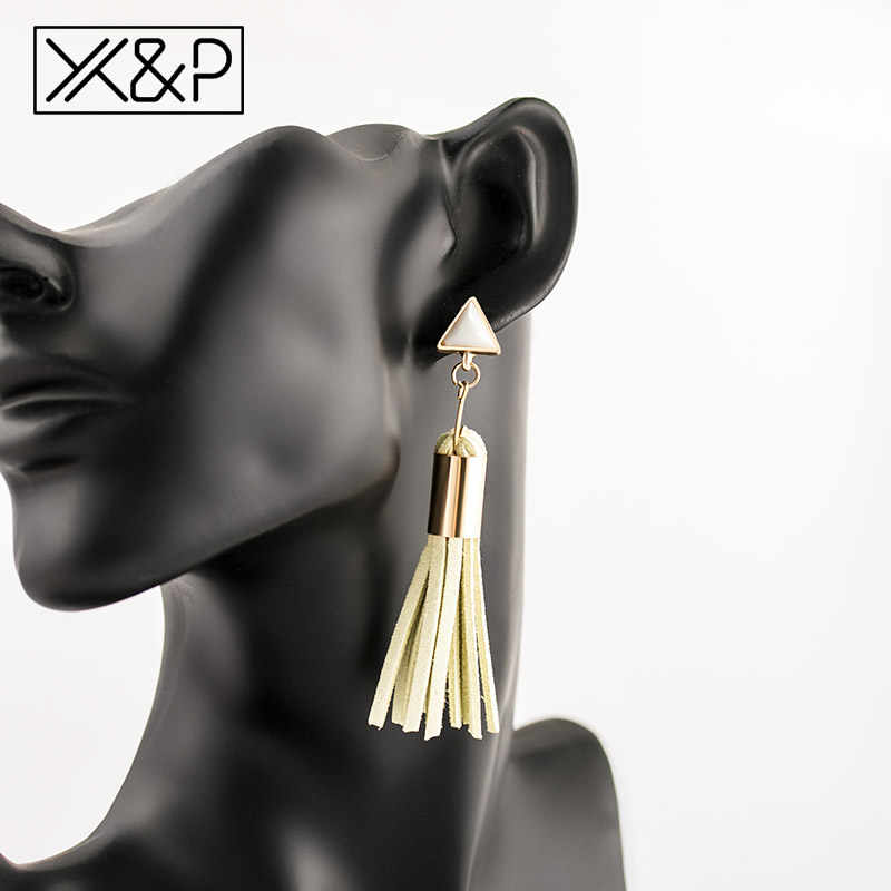 X&P Bohemian Leather Tassel Drop Earrings for Women Fashion Vintage Long Fringe Triangle Resin Metal Dangle Earring jewelry