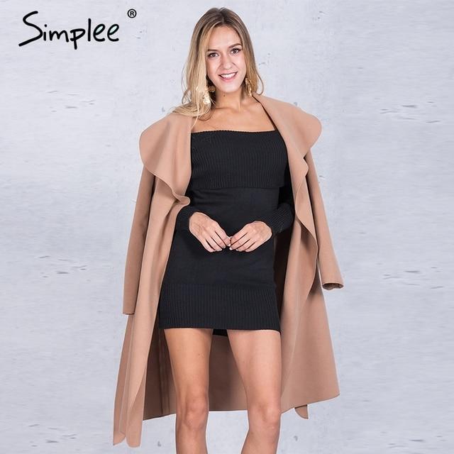 Simplee Черный рябить теплое зимнее пальто Женщин отложным длинные пальто воротник пальто женский Случайные осень 2016 розовый верхняя одежда
