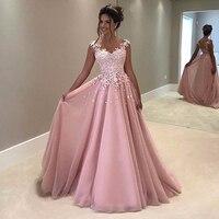 Elegant A Line Evening Dress 2019 O Neck Appliques Cap Sleeve Robe de soiree Formal Prom Party Gowns Pink Long vestido longo
