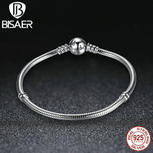 BISAER Classic 100% 925 Sterling Silver Snake Chain Dsny, Miky Basic DIY Charm Bracelet  for Women Fashion Jewelry HJS912
