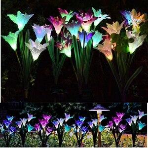 Image 5 - Güneş işıkları bahçe dekorasyon için LED güneş lambası renkli 16pcs zambak çiçekler noel dış aydınlatma su geçirmez güneş ışığı