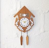 021269 Rural idyll bamboo forest cabin animal cuckoo clocks quiet home decoration wall clock