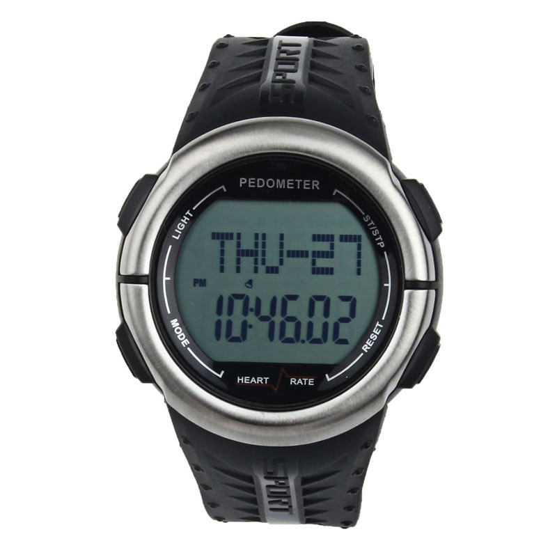Waterproof Digital 3D Pedometer Calories Counter Pulsometer Heart Rate Monitor LED Sport Watch Free Shipping 200717