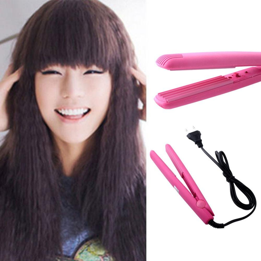 Pink Hair Crimper Flat Iron Mini Perm Hairdressing Tool Styling Hair Waver Curls ckeyin 9 31mm ceramic curling iron hair waver wave machine magic spiral hair curler roller curling wand hair styler styling tool