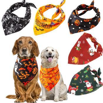 Accesorios de disfraz para mascotas de Navidad Bandana perro pequeño grande Baberos toalla bufanda Halloween calabaza estampado cachorro mascota