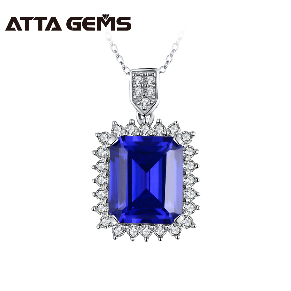все цены на Blue Sapphire Sterling Silver Pendant 8 carats in 10mm*12mm Created Sapphire And Fashion Silver Pendant Beautiful And Romantic онлайн