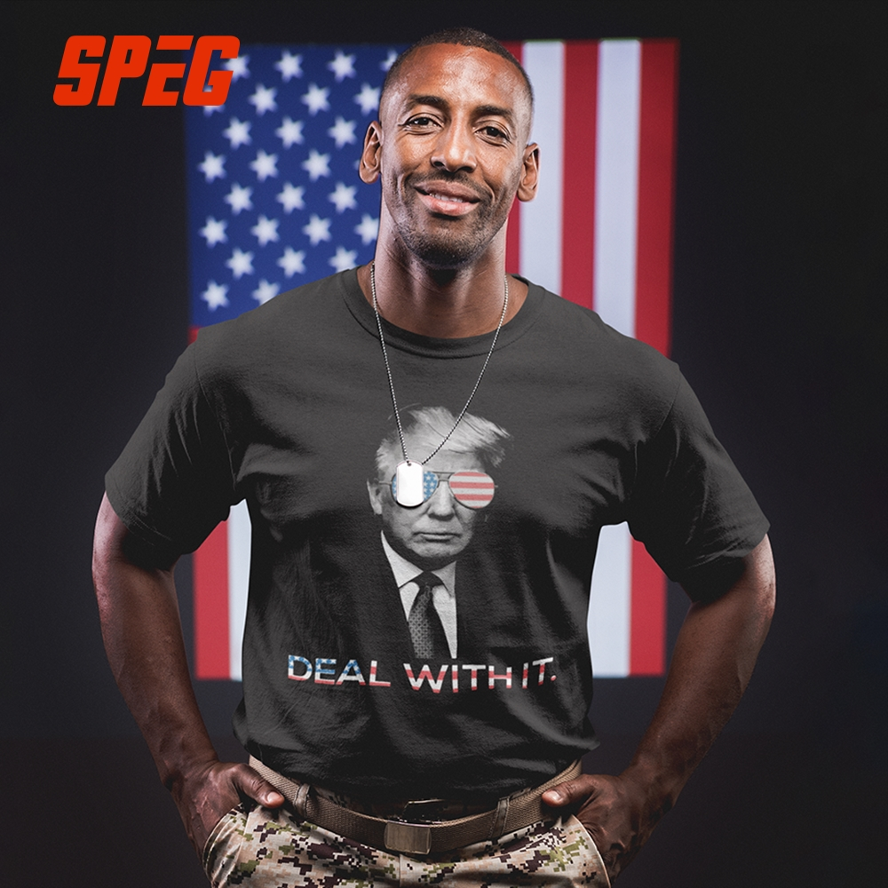 Humorous   T     Shirts   Trump Deal with it America Casual Tee   Shirts   Adult Crewneck Short Sleeve Clothes Leisure   T  -  Shirts   Men Vintage
