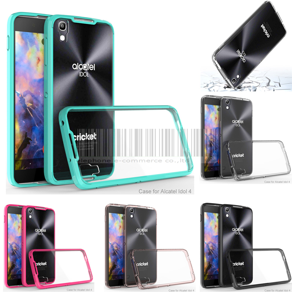 Phone Case For Alcatel OneTouch Idol 4 5 2 OT-6055 Mix Color Anti-shock  Frame+Acrylic Clear Soft Case Crystal Protective