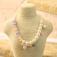2016 Fashion Cute Design Baby Simulated Pearl Necklace Girl Bubblegum Necklace Kids Child Chunky Beaded Neckalce
