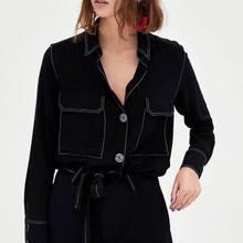 UK8043 2018 women za spring causal blouses cotton blusa Shirts flare sleeve Womens Camisa Blusas Feminina