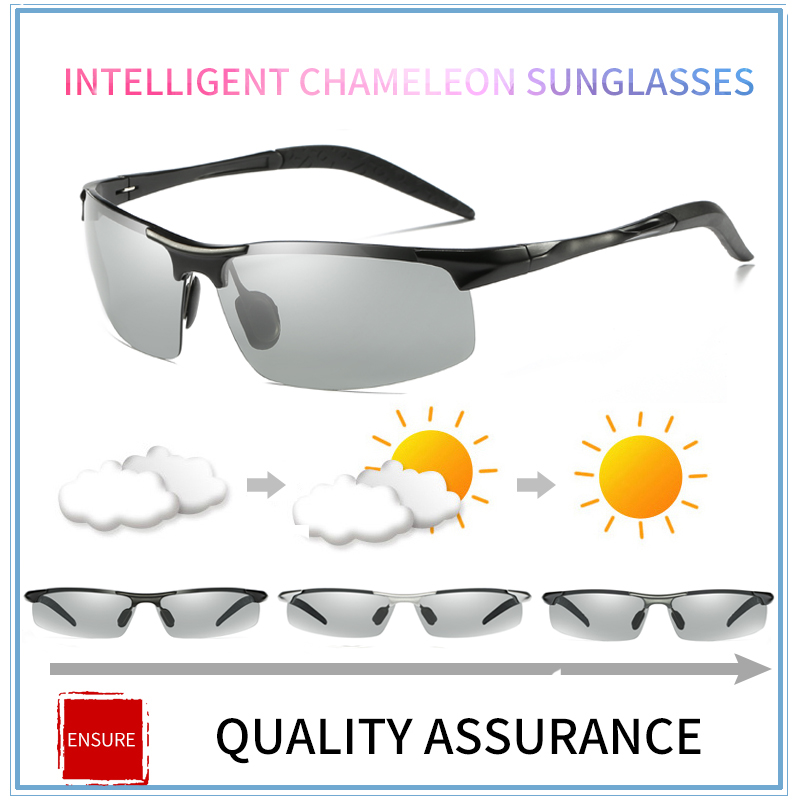 Aluminium Alloy Photochromic Men Polarized Sunglasses Driving Day and Night Vision Goggles Discolor Sun Glasses Eyeglasses8177BS in Men 39 s Sunglasses from Apparel Accessories