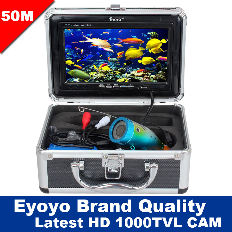Eyoyo Original 50M Professional Fish Finder Underwater Fishing Video Camera White LED 1000TVL HD CAM 7 Color HD Monitor eyoyo original 50m 1000tvl hd cam professional fish finder underwater fishing video recorder dvr 7 w infrared ir led lights