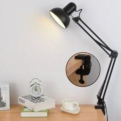220 V E27 złącze LED lampa stołowa lampka nocna przycisk otwórz kreatywny klip światło robocze badania biuro z kutego żelaza lampy składane w Lampy na biurko od Lampy i oświetlenie na