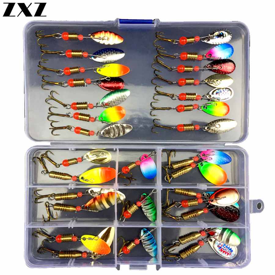 30pcs Angling Kit Set Metal Fishing Lures Trout Spoon Hooks Bass Baits Sequins