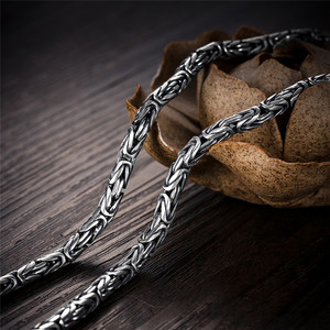 Image 3 - V.YA Punk Style Real Silver Dragon Necklace Men Chain 925 Sterling Silver Necklaces for Male Mens 50cm 55cm 60cm