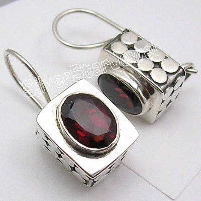 Caixa de Designer De OVAL CUT RED GARNET prata MODERNO Novo Brincos 2.1 CM