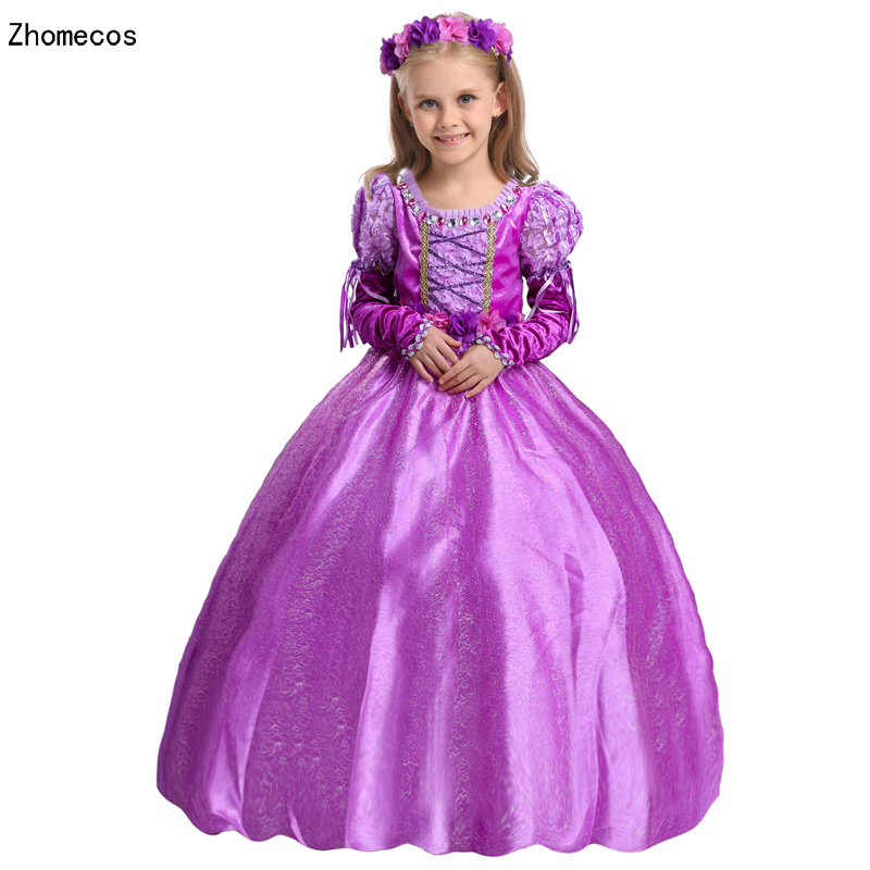 Children Renaissance Rapunzel Princess Costume For Girl Halloween Party  Cosplay Size S-XXL