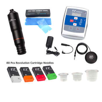 EZ Filter V2 Tattoo Pen 80 Revolution Cartridge Needles Tattoo Power Supply Foot Pedal Switch Complete Tattoo Kit - DISCOUNT ITEM  5% OFF All Category