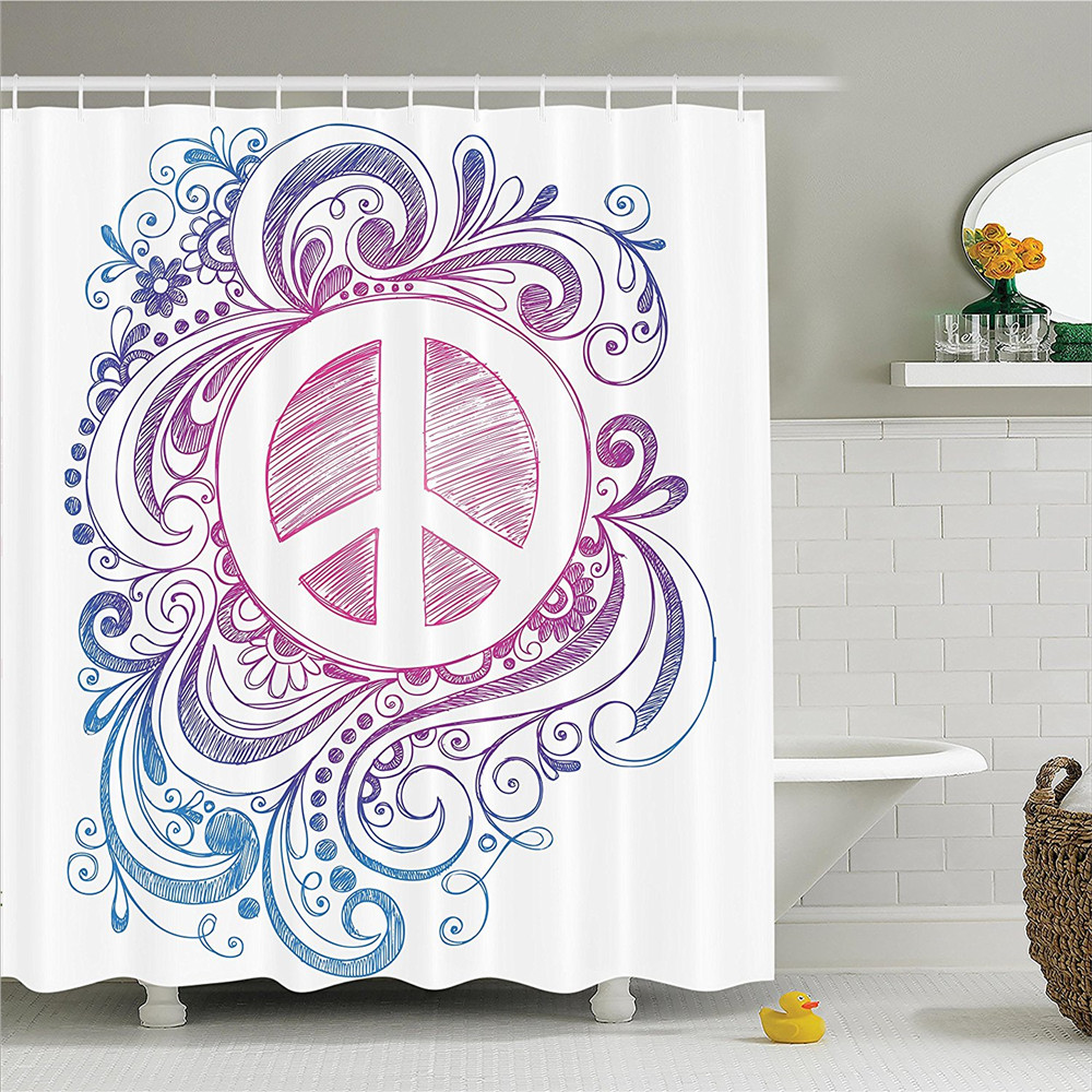 Groovy Decorations Shower Curtain Set Classic Hand Drawn Style Peace Sign And Swirls Freedom Change Hope Roll Icon Bathroom