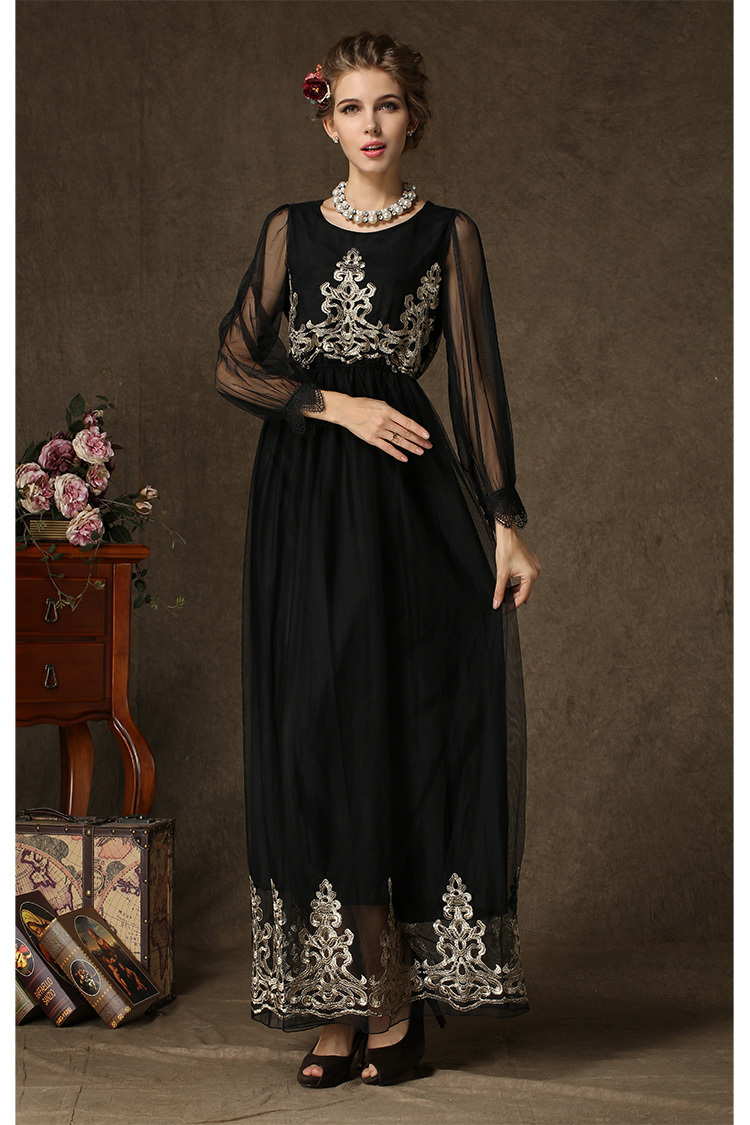 2db2f3404fd8 Women Long Sleeve Black Gauze Embroidered Floral Vintage Chiffon Maxi Dress  Elegant Long Party Dresses Autumn Dresses 2015 New-in Dresses from Women s  ...
