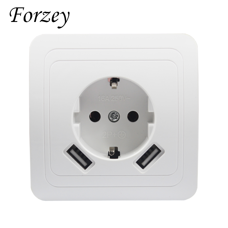 2019 New USB Wall Socket Free Shipping Double USB Port 5V 2A Usb Enchufes Para Pared Prise High Quality Usb Murale Steckdose F02