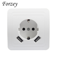 2019 new USB Wall Socket Free shipping Double Port 5V 2A Usb enchufes para pared prise high quality usb murale steckdose F02