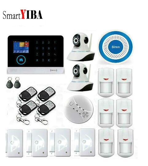 SmartYIBA  IOS Android APP 3G WIFI Alarm PIR Motion Sensor Smoke Alarm Video Surveillance Camera Wireless Home Alarm System Kits