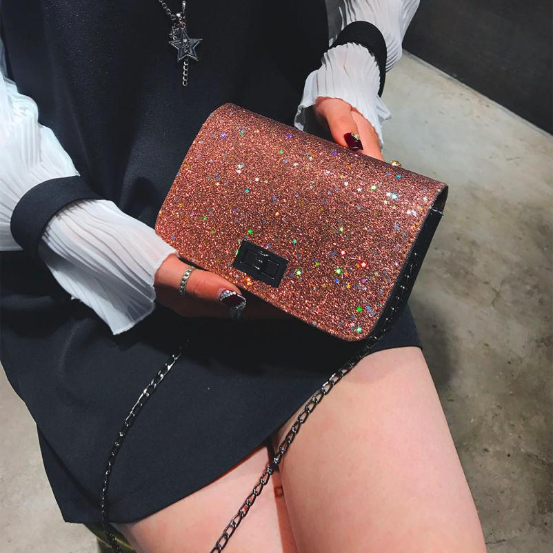 Molave Shoulder Bag new high quality leather Girl Fashion Padlock Crossbody with Bling Sequins shoulder bag women FEB27