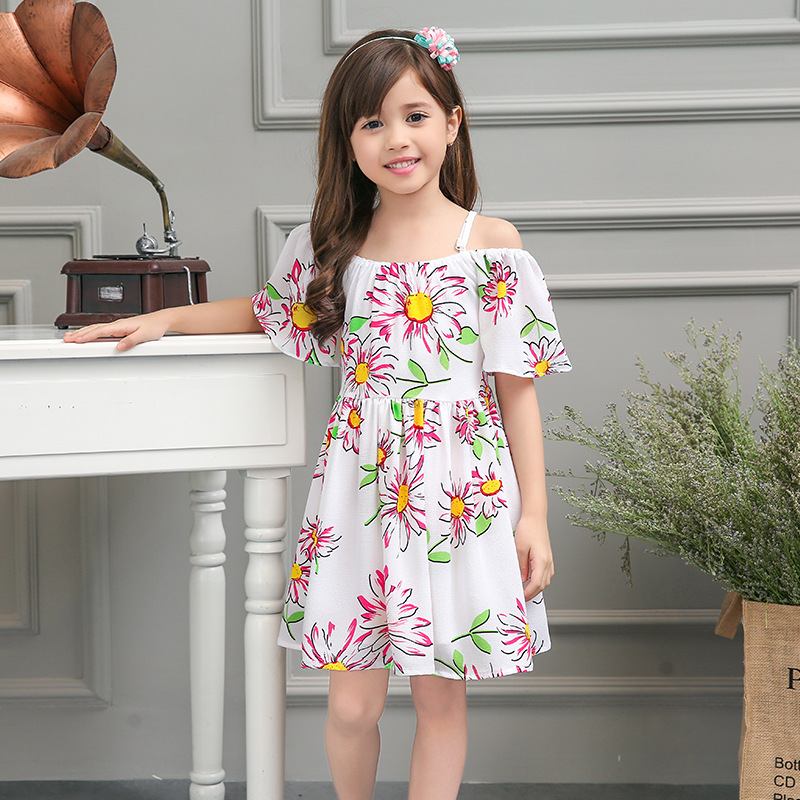 2016 New Summer Kids Girl Sling Princess Dress Baby Flower Girls Party Dress Chiffon Printed Evening Dresses Children Clothes
