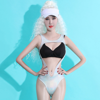 New DJ Costume Women Bright Silvery Jumpsuit With Bra DJ Bar DS Stage Costume Dancewear Leading dance Stage Rave Clothes BL1582