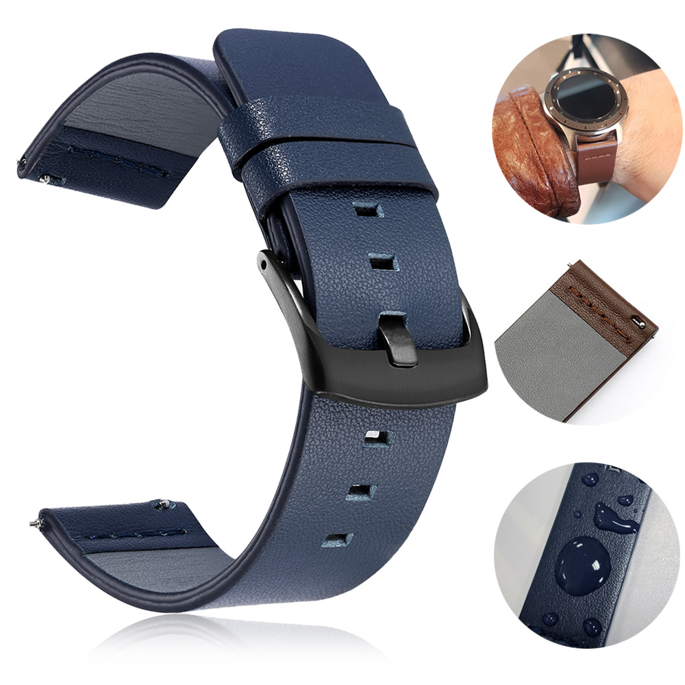 20mm 22mm Genuine Leather Watch band Strap for <font><b>Samsung</b></font> Galaxy Watch 42 <font><b>46mm</b></font> Gear S3 Sport WatchBand Quick Release 18 24mm image