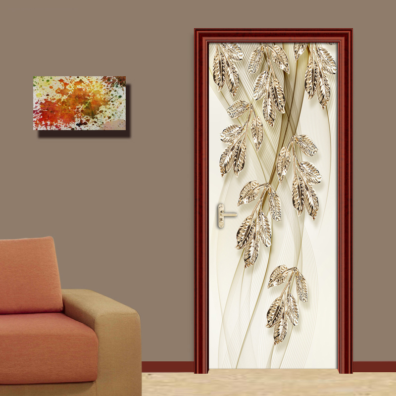 European Style 3D Stereo Golden Leaves Abstract Stripe Background Wall Painting Living Room Bedroom Door Sticker Mural Wallpaper m style шкатулка leaves big