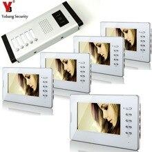 YobangSecurity White 7 Inches Color Wired Video Doorbell Door Chime,Rainproof Door Phone For 5 Units Villa Apartment Intercom