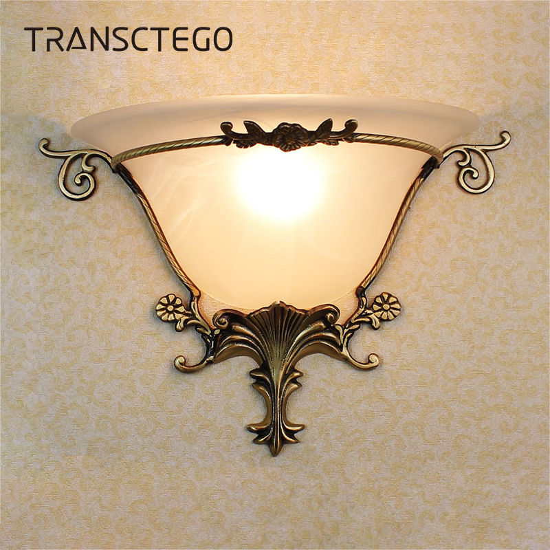 Wall Lamps Indoor Lighting European fan-shaped Lamp Frosted glass Wall Mounted style Copper Corridor Aisle Bedroom Wall Lamps caged onion wall antique copper 2 candelabra sockets frosted glass
