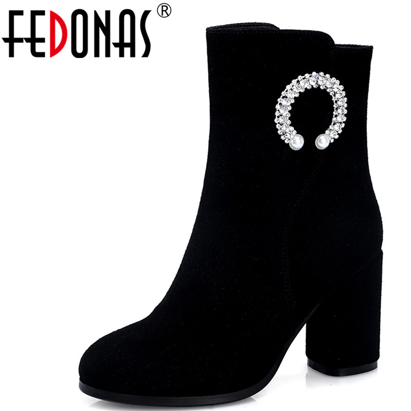 FEDONAS 1Fashion Women Ankle Boots Autumn Winter Warm High Heels Shoes Woman Cow Suede Round Toe Rhinestone Party Dancing Boots цены