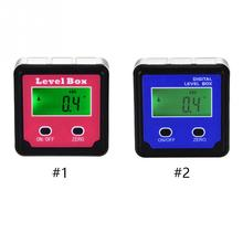 2key digital inclinometer level box protractor angle finder gauge meter bevel level boxes illuminated lcd display 1Pcs 4*90 Degree Digital Protractor Inclinometer Level Bevel Box Angle Finder with Magnet Base Red/Blue New Arrival