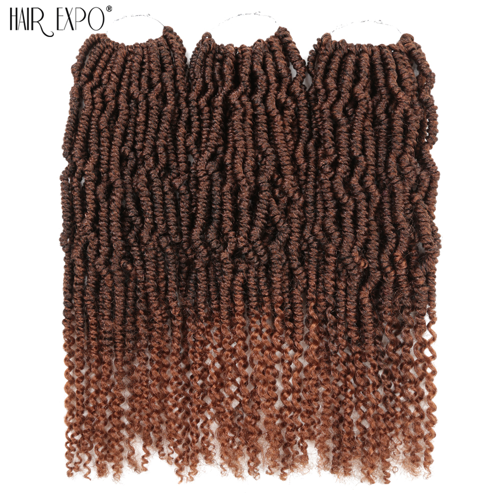Bomb Twist Crochet Braids With Curly Ends Synthetic Hair Extension Ombre Spring Twist For Afro Black Women Hair Expo City