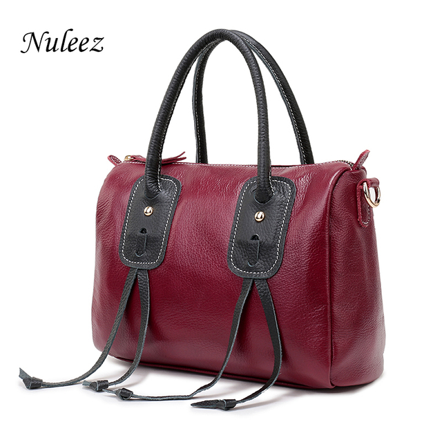 Nuleez Genuine Leather Handbags Women Red Pillow Crossbody Bags For Ladies Soft Real Leather Messenger Shoulder Bags Female 1224