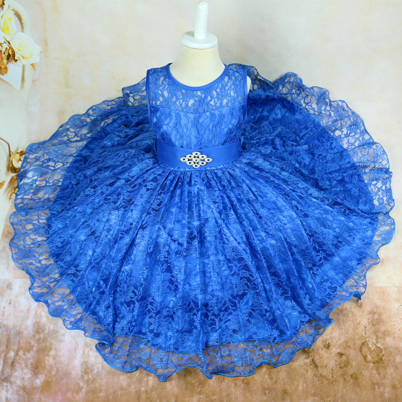 Summer 2018 Princess Party Tutu Baby Dress for Girls Formal Ball Gown Clothing Elegant Dresses Kids Clothes Blue Lace Mesh Girls 2018 summer new girls clothing lace mesh splicing baby dresses for girl party princess dress fashion petal kids girls dresses