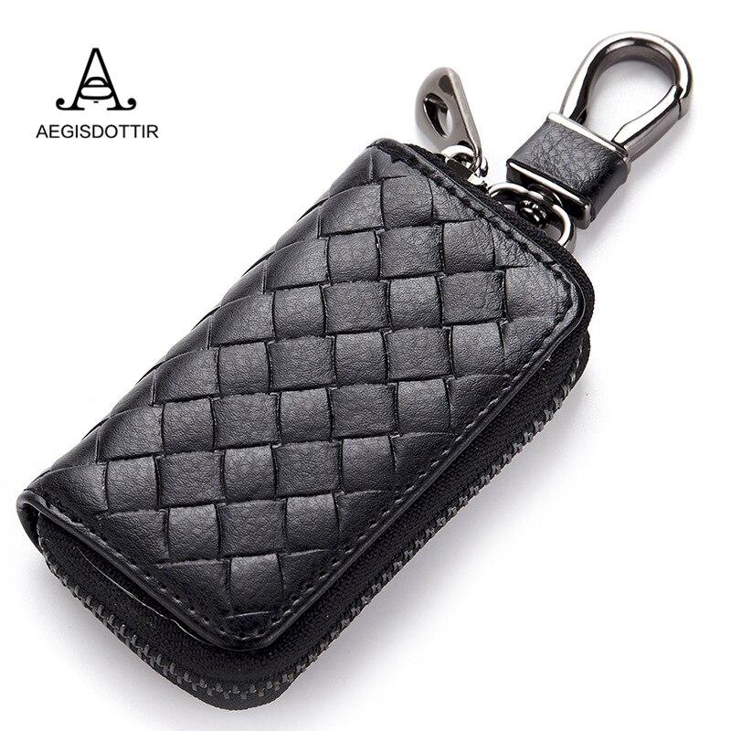 New Genuine Leather Knitting Pattern Car Key Wallets Men Key Holder ...